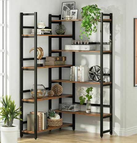 "Types of Bookcases: Tribesigns 70.8"" Corner Bookshelf, 8-Tier Industrial Bookcase"