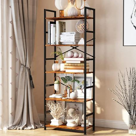 Types of Bookcases: 5-Tier Tall Bookcase, Rustic Wood and Metal Standing Bookshelf