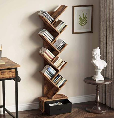 Types of Bookcases: Rolanstar Tree Bookshelf with Drawer, 8 Shelf Rustic Brown Bookcase