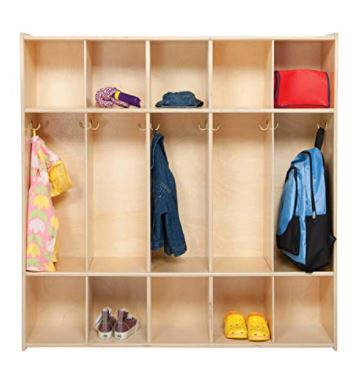 Types of Mudroom Lockers: Contender 5 Section Daycare Cubby Coat Rack
