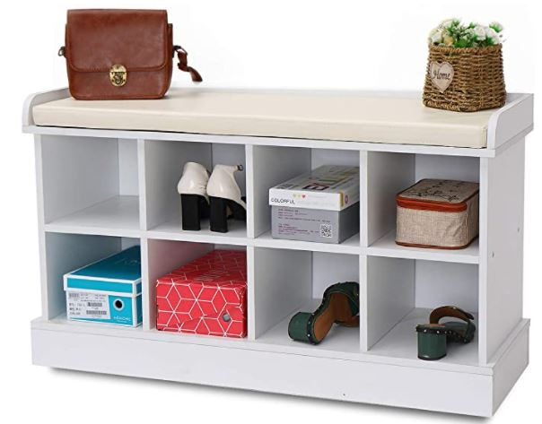 Types of Mudroom Lockers: 8 Cubbies Shoe Entryway Bench Storage with Fireproof Cushion Wood Cube Organizer Rack Cabinet Shelf Hallway White