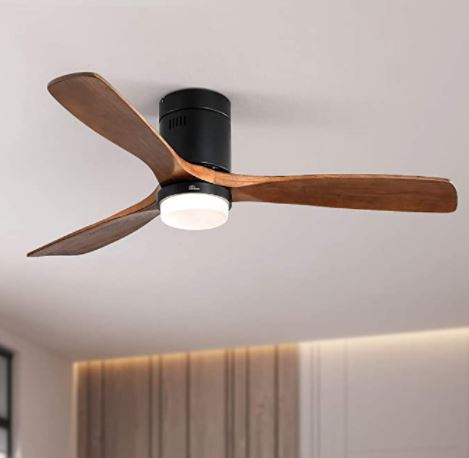 Types of Ceiling fans: Low Profile Ceiling Fan With Lights 3 Carved Wood Fan Blade Noiseless