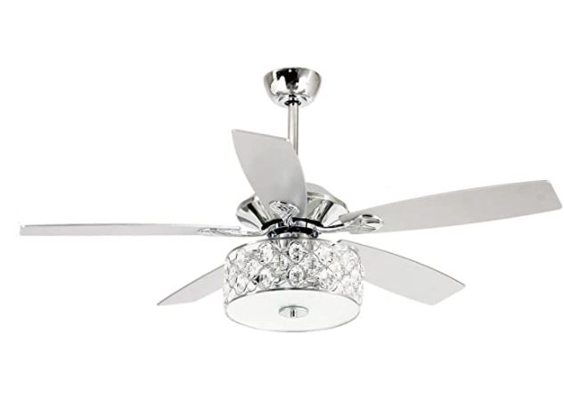 Types of Ceiling Fans: Modern Ceiling Fan With Light Reversible 5 Blades Remote Control Crystal Chandelier
