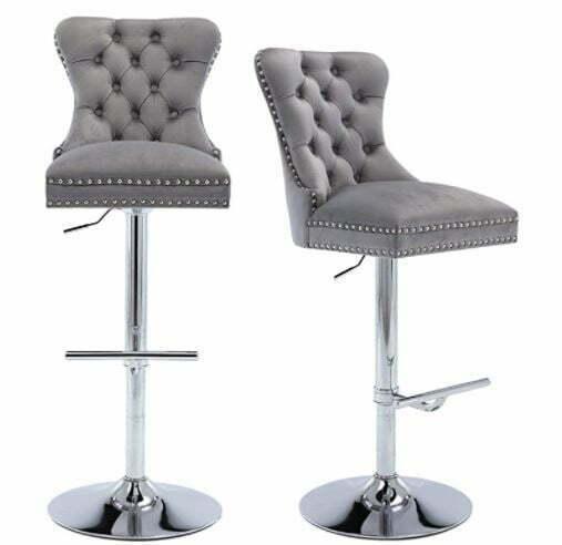 bar stools with Backs: HAIQUAM Swivel Bar Stools Set of 2 Velvet Adjustable Barstool High Back