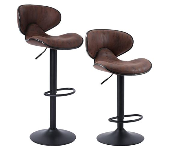 bar stools with backs: SUPERJARE Set of 2 Adjustable Bar Stools, Swivel Barstool Chairs with Back