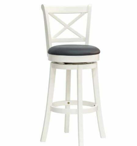 bar stool with backs: HOMCOM Traditional Barstool Swivel Bar Chair with Cross Back Design