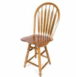 bar stools with backs: AW Furniture Solid Medium Oak Windsor Back Swivel Turned Counter 24-inch Bar Stool