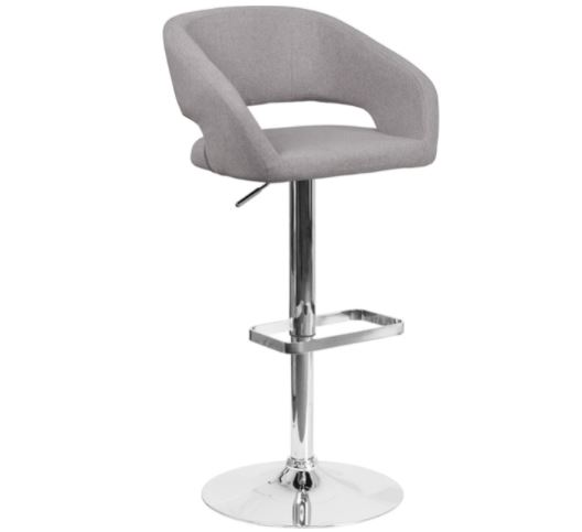 bar stools with backs: Flash Furniture Contemporary Gray Fabric Adjustable Height Barstool with Rounded Mid-Back