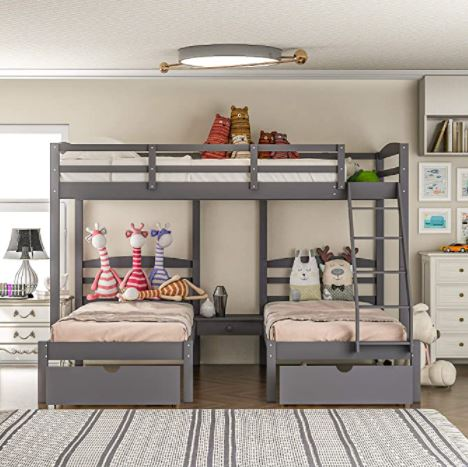 Different Types of Bunk Beds: Triple Loft Bunk Bed Full Over 2 Twin Bunk Bed