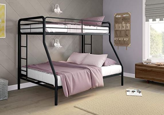 Different Types of Bunk Beds: DHP Twin-Over-Full Bunk Bed with Metal Frame and Ladder
