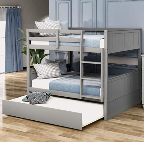 Different Types of Bunk Beds: Merax Full Bunk Bed with Twin Size Trundle for Kids and Teens, Full/Full, Gray
