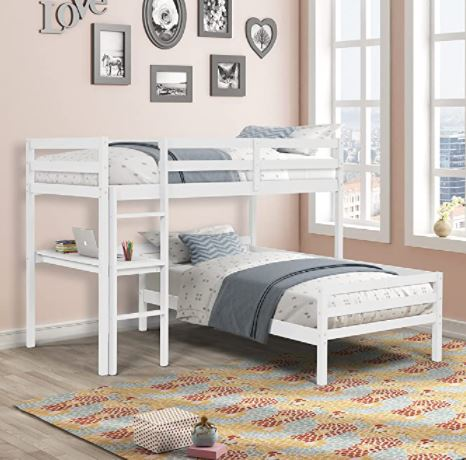 Different Types of Bunk Beds: L-Shaped Bunk Beds Twin Over Twin, Loft Bed with Desk