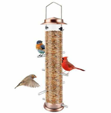 types of bird feeders: MIXXIDEA Finch Bird Feeder Hanging Metal Thistle Seed Tube Feeder