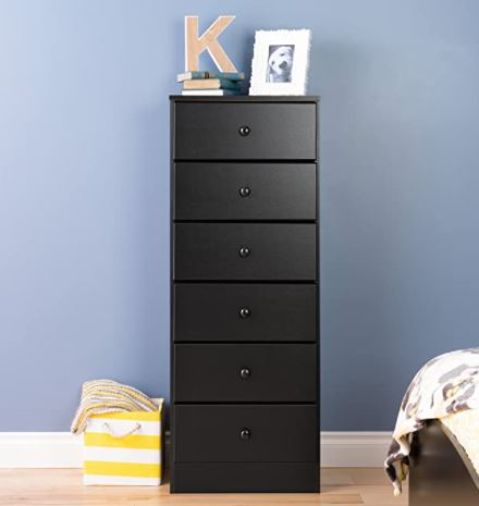 Types of Dressers: Prepac Astrid 6 Drawer Tall Chest, Black