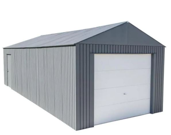 types of garages: Everest 12 ft. H x 30 ft. W Charcoal Wind and Snow Rated Steel Garage