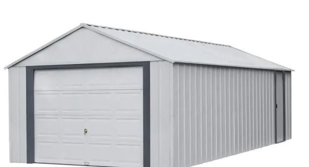 types of garages : Murryhill 14 ft. W x 31 ft. D 2-Tone Gray Steel Garage and Storage Building with Side Door and High-Gable Roof