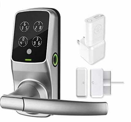 types of window locks: Lockly Secure Pro Latch Edition | Bluetooth Fingerprint WiFi Keyless Entry Smart Door Lock
